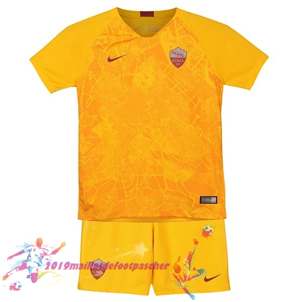 Maillot De Foot Pas Cher Nike Third Ensemble Enfant AS Roma 18-19 Jaune