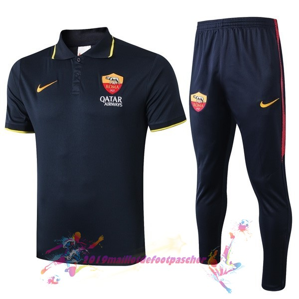 Maillot De Foot Pas Cher Nike Ensemble Polo As Roma 2019 2020 Noir Jaune