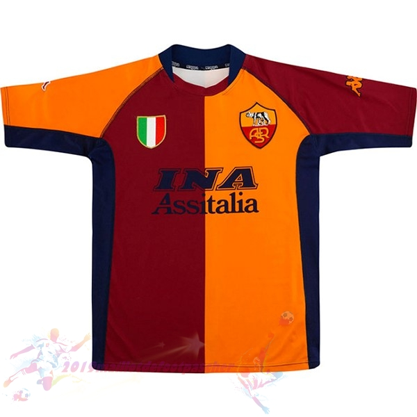 Maillot De Foot Pas Cher Kappa Domicile Maillot As Roma Retro 2001 2002 Orange