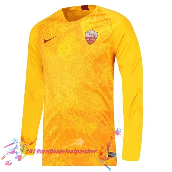 Maillot De Foot Pas Cher Nike Third Manches Longues As Roma 18-19 Jaune