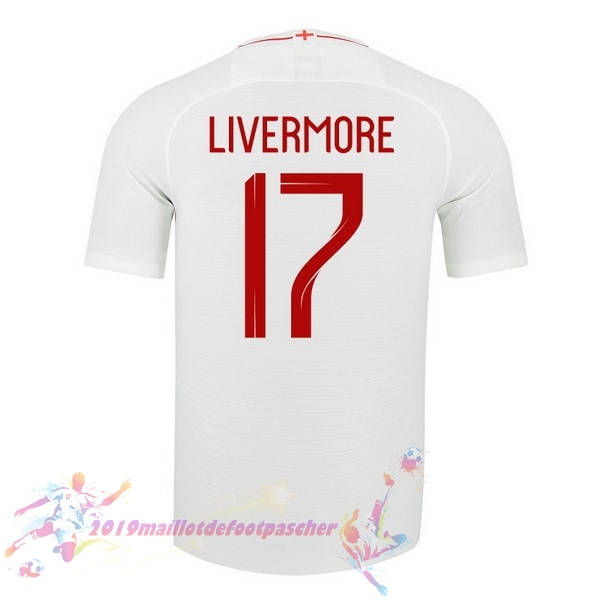 Maillot De Foot Pas Cher Nike NO.17 Livermore Domicile Maillots Angleterre 2018 Blanc