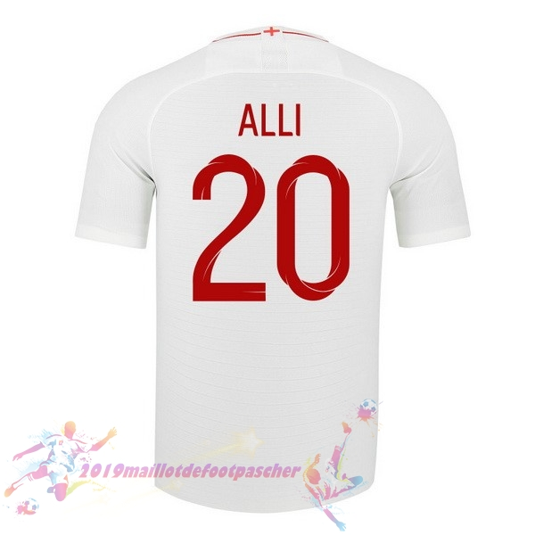 Maillot De Foot Pas Cher Nike NO.20 Alli Domicile Maillots Angleterre 2018 Blanc