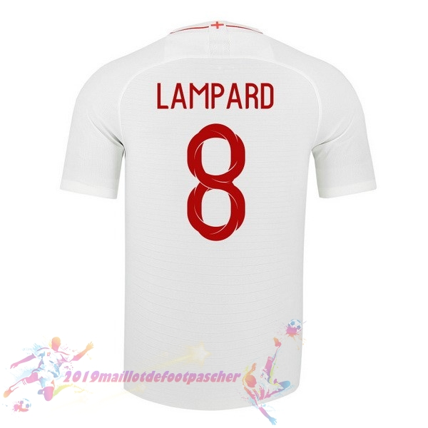 Maillot De Foot Pas Cher Nike NO.8 Lampard Domicile Maillots Angleterre 2018 Blanc