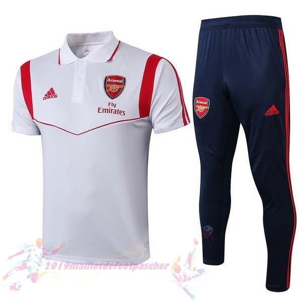 Maillot De Foot Pas Cher adidas Ensemble Polo Arsenal 2019 2020 Blanc Rouge