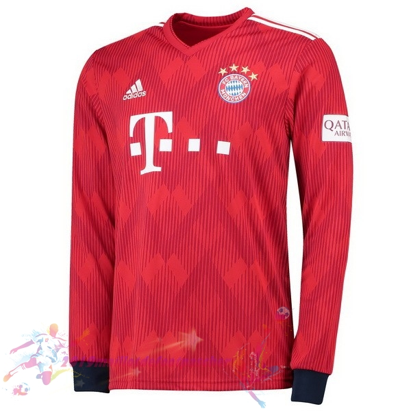 Maillot De Foot Pas Cher adidas Domicile Maillots Manches Longues Bayern Munich 2018 2019 Rouge
