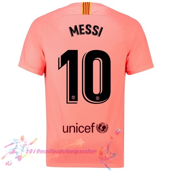 Maillot De Foot Pas Cher Nike NO.10 Messi Third Maillots Barcelona 18-19 Rouge