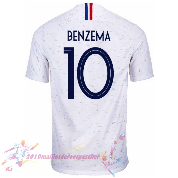 Maillot De Foot Pas Cher Nike NO.10 Benzema Exterieur Maillots France 2018 Blanc