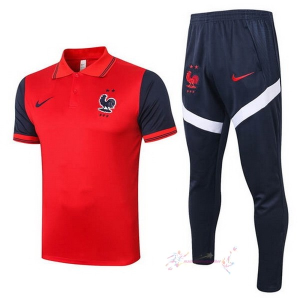 Maillot De Foot Pas Cher Nike Ensemble Complet Polo France 2020 Rouge Noir