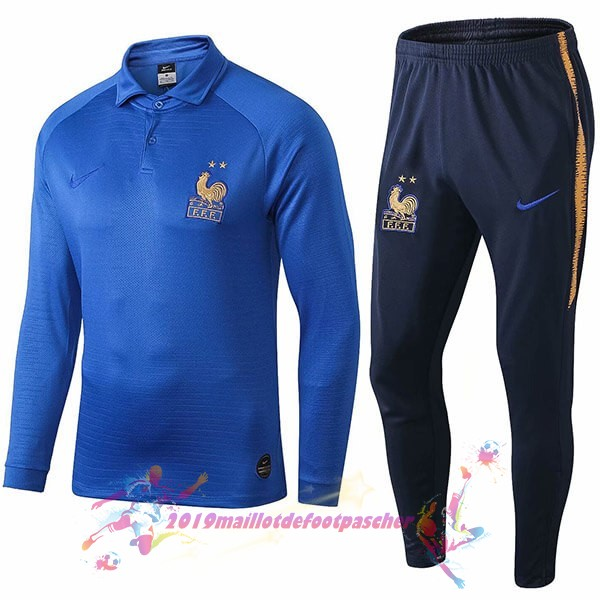 Maillot De Foot Pas Cher Nike Ensemble Polo France 100th Bleu
