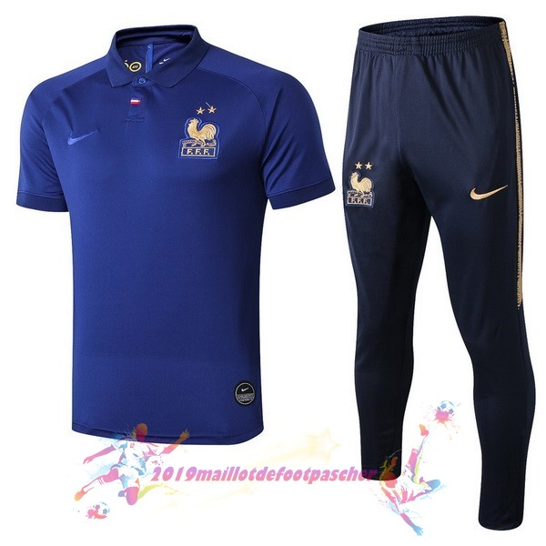 Maillot De Foot Pas Cher Nike Ensemble Polo France 100th Bleu Or