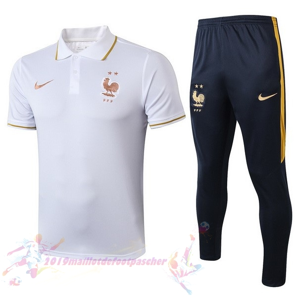 Maillot De Foot Pas Cher Nike Ensemble Polo France 2019 Blanc Bleu