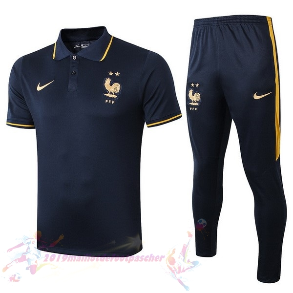 Maillot De Foot Pas Cher Nike Ensemble Polo France 2019 Bleu Marine