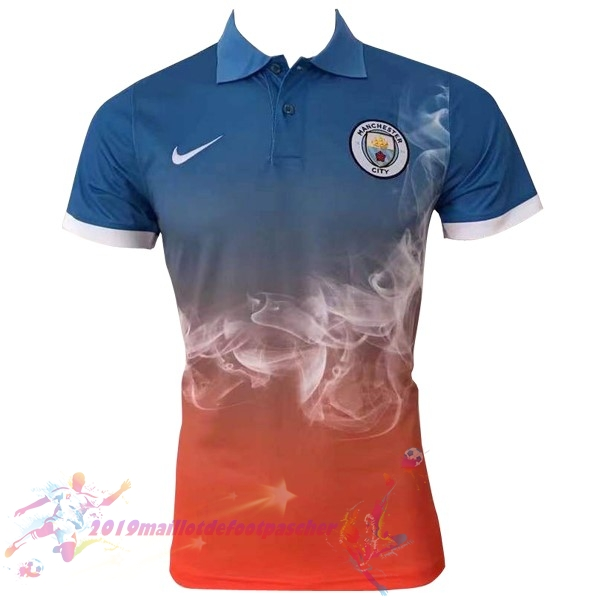 Maillot De Foot Pas Cher Nike Polo Manchester City 2017 2018 Bleu Orange