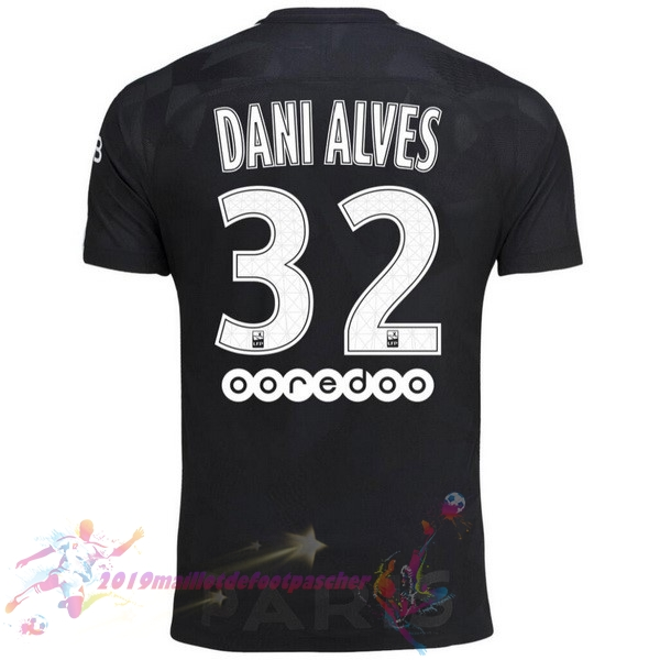 Maillot De Foot Pas Cher Nike NO.32 Dani Alves Third Maillots Paris Saint Germain 2017 2018 Noir