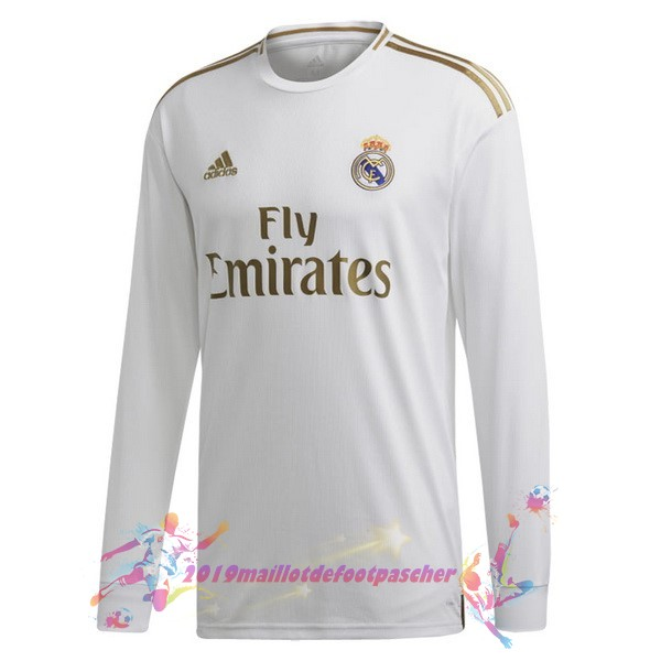 Maillot De Foot Pas Cher adidas Domicile Manches Longues Real Madrid 2019 2020 Blanc